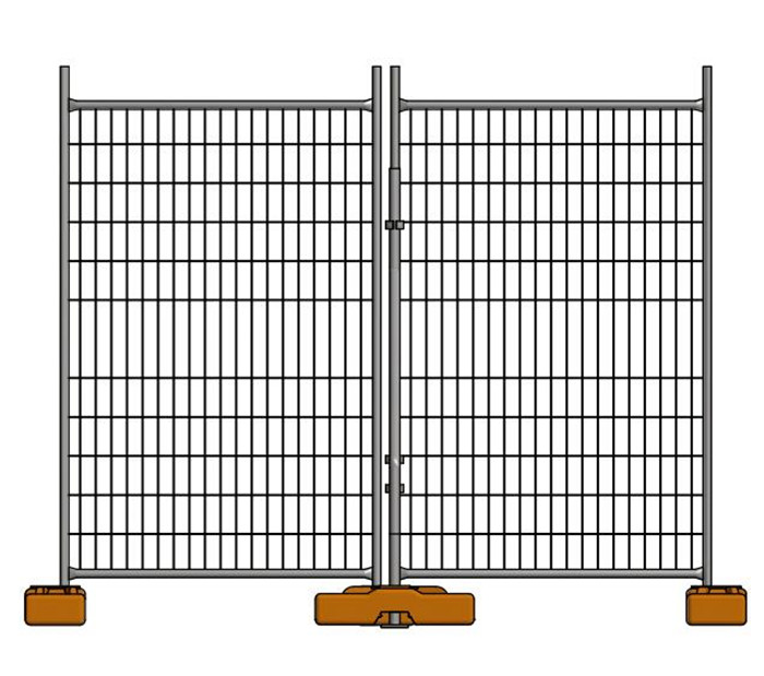 A drawing of temporary fencing panel installed with plastic feet